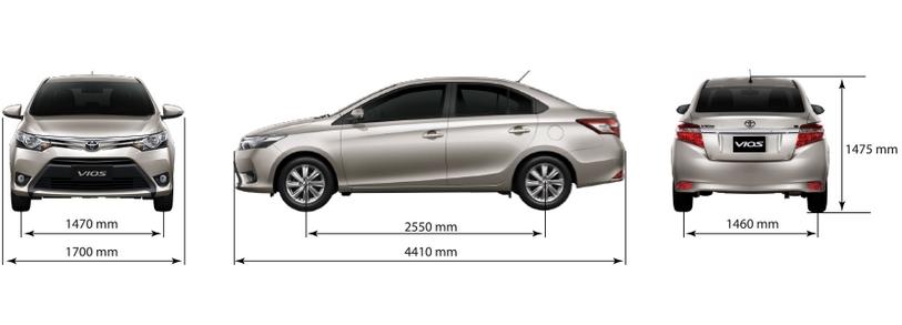 kích thước xe vios